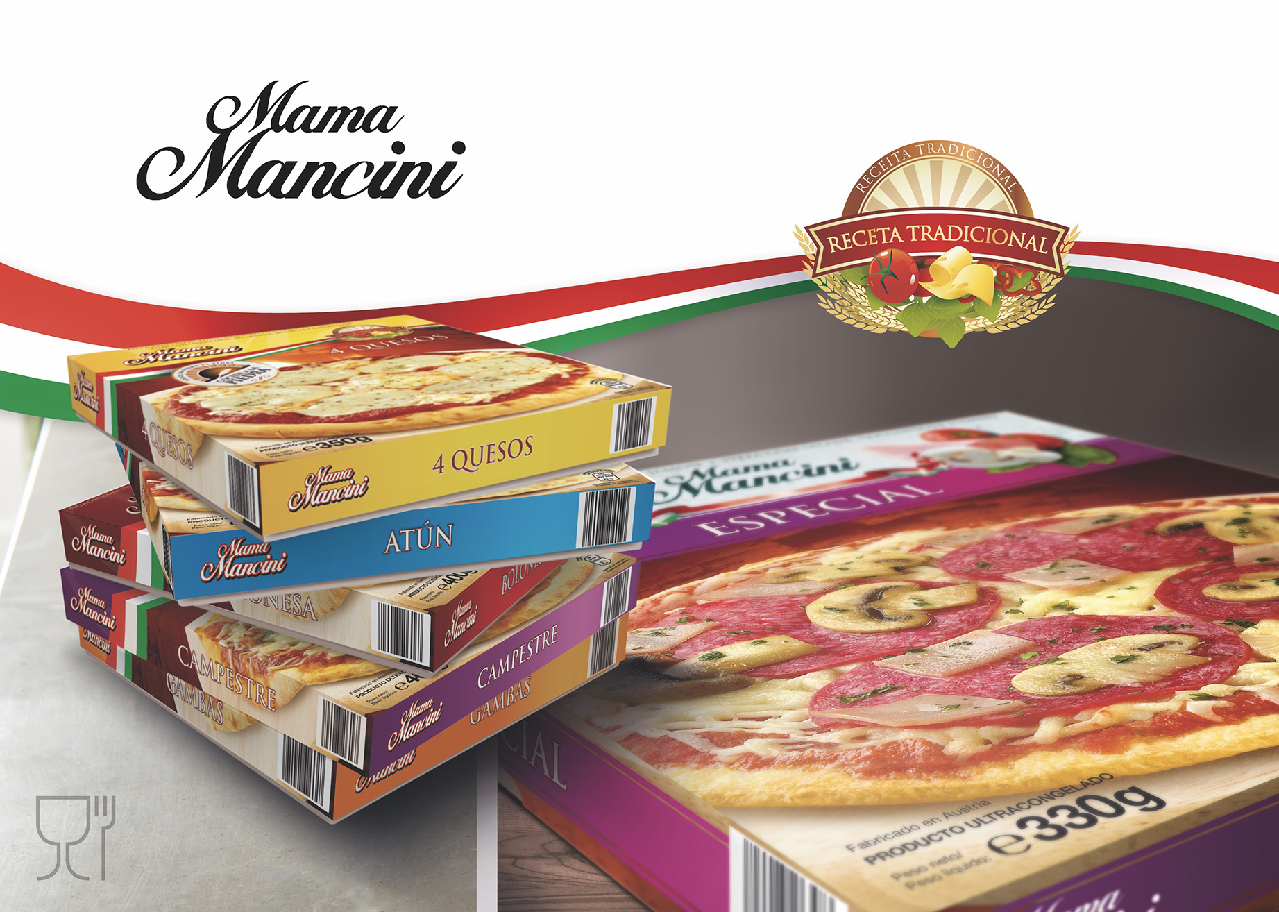 Mama Macini Pizza Packahing Design